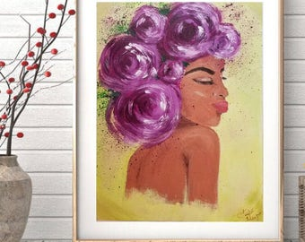 Purple painting, purple art, floral art, floral painting, portrait painting, black woman, black art, wall decor, framed art, unique art, art