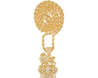 Iced Out Lion King Pendant on 24 or 30 Inch Gold Plated Rope Chain