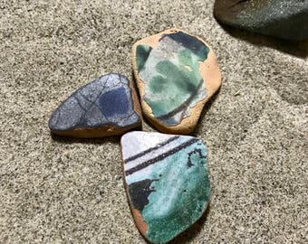 Sea Pottery 3 Blue Green Patterned Pieces * Italian Beach Pottery * Beach Cottage Style Lover Gift * Home Decor Ideas *  Terracotta Shards