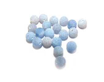 Blue agate, smooth, ribbed light blue dyed agate beads, hole, 5 x