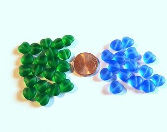 Blue or green x 15 glass heart beads