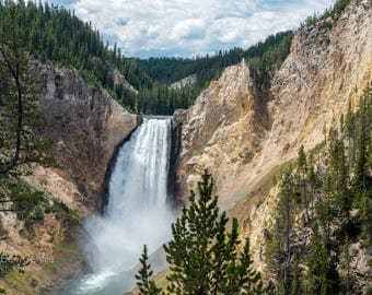 Landscape Photography, Yellowstone National Park, Waterfall photo, Digital download, Nature photography