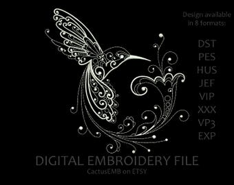 INSTANT DOWNLOAD - Hummingbird machine embroidery design. Embroidery pattern. Embroidery design