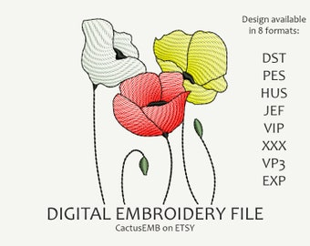 INSTANT DOWNLOAD - Poppys embroidery design. Flowers. Boho Style. Embroidery design