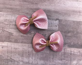 Pearl pink faux leather pigtails or newborn bow, alligator clip, nylon headband