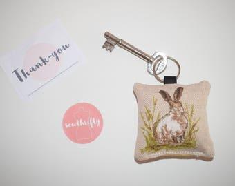 Hessian Rabbit Key Ring Key Chain Handmade Sewn Friendship Gift Valentine's New Home Cushion Fob Chain Decoration Wedding Favour Spring