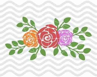 Flower svg, Flower dxf, Floral svg, Floral dxf, Flower svg files, Floral swag svg, Floral swag dxf, Rose svg, Rose dxf, Flower cut file