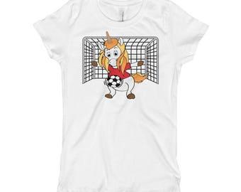 Unicorn Soccer Goalie Girl's T-Shirt