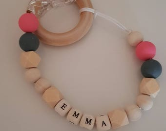 Personalised wooden/silicone*Dummy/teether Clip*natural*baby gift*baby shower*100% natural wood