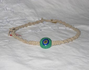 Twisted Hemp Green & Blue Glass Kids Necklace