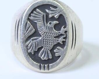 Vintage Sterling Silver Eagle Ring, Size 10.5