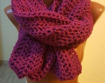 Handmade Scarf / Scarves / Infinity Crochet Scarf / Red Scarf / Chunky Scarf / Winter Scarf / Winter Shawl / Gift for Her / Crochet Scarf
