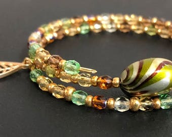 Czech glass beads on gold memory wire