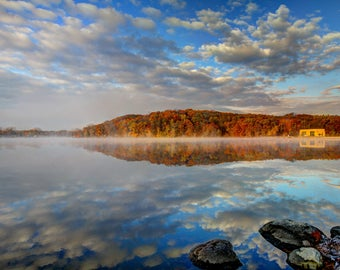 Fall Color, Landscape Photography, Nature Print, Michigan, Reflection