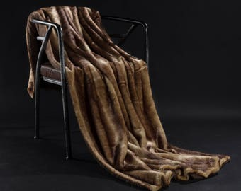 Striped Brown Faux Fur Weight Blanket - Weight Blanket, Throw Blanket, Faux Fur Throw