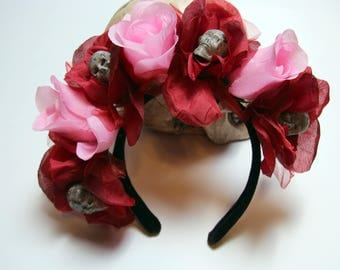 Skull and Flowers Headband