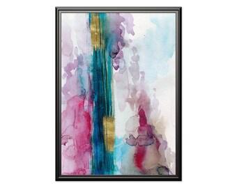 Abstract watercolor art, aqua wine gold wall art, Abstract aqua & gold wall art. Modern home art, housewarming gift, blue gold printable art
