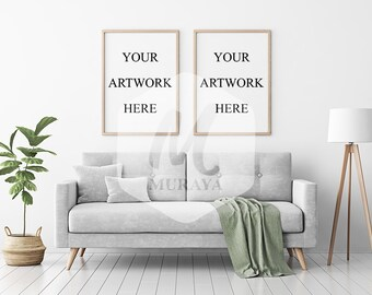 2 Panel Wood Frame Mockup, Styled Stock Photograpy, Scandinavian Style Interior, PSD Mockup, Clean interior, Natural Lighting