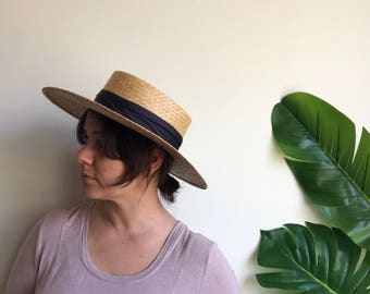 Vintage Straw Dandy Hat by United Colours of Benetton Made in Italy