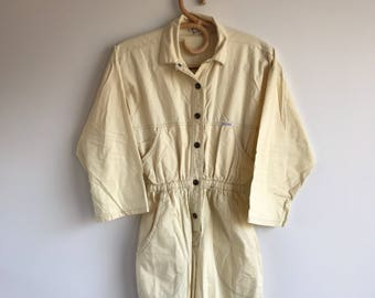 Vintage 80's Women's Yellow Jumpsuit Size Small