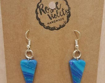 Blue marbled polymer clay drop earrings