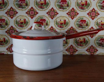 Red and White Enamelware Pan with Lid