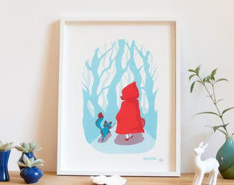 Screen printed poster, art print, red, child riding, 30 x 40 cm