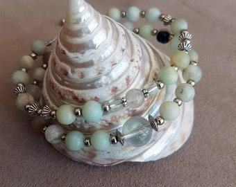 Double bracelet with amazonite and rock crystal