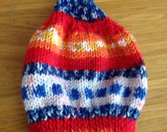 Why knot? Fire-Stripe baby/toddler hat.