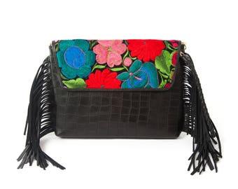 CORA-leather handbag with handmade embroidery