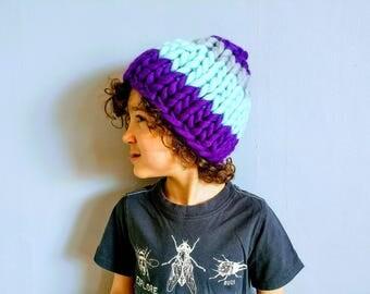 Kids Mint/Eggplant/Gray Striped Soft Wool Hand-Knit Hat