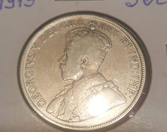 1919   Canada 50 cents silver Half Dollar