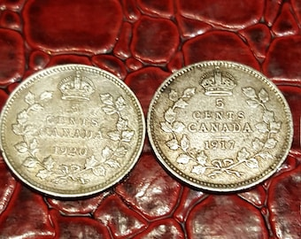 Set of 2-1917,,20  Canada Silver 5 Cent, King George V