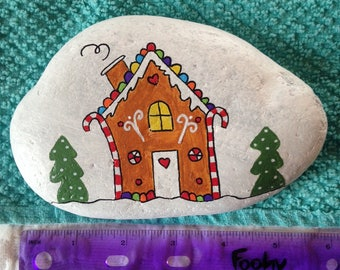Gingerbread House Painted River Rock