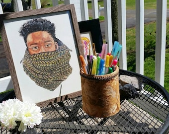 Jaiquan. Black man bust portrait in watercolor with cozy winter scarf in autumn colors