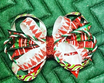 Green, red, white, Christmas stacked Head bow.