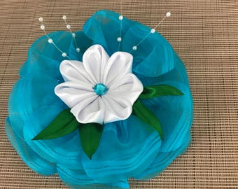 Lovely Large Flower Bow Organza And Satin Hair Clip Accessory Box