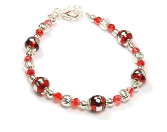 Bracelet beads Bohemian glass and metal silver-Red
