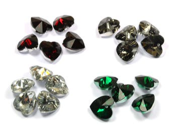 Set of 20 12 mm red crystal-green-gray Crystal heart pendants