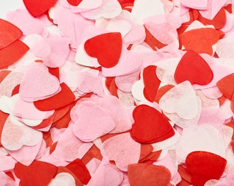 Confetti Wedding, table-confetti hearts of silk paper [Pink, pink, red, white]