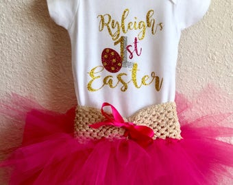 First easter outfit//girl first easter//my fist easter dress//easter tutu outfit