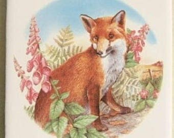 Ceramic Tile Fox Looking Back wildlife accent backsplash serving tray