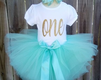 Aqua and Gold Custom First Second Third Birthday Tutu Outfit Free Personalization