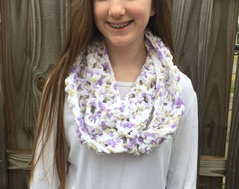 Kids size purple, white, and light brown infinity scarf