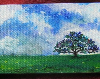ORIGINAL Acrylic, MINIATURE painting, Easel Included Landscape, Tree art, Sky, Clouds, Tree,