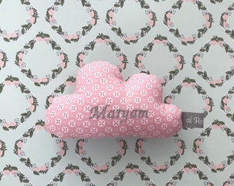 Mini clouds pillow with name and rattle, personalizable