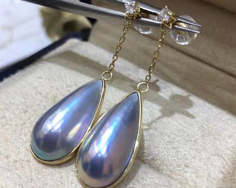 Natural Mabe Pearl Earrings with 18K Gold Earring Post, Limited Edition,High Luster High Quality Mabe Pearl Dangle Earrings, Bridal Earrings