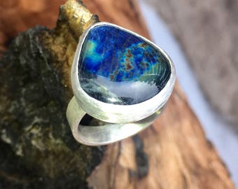 Rainbow Labradorite Sterling Ring