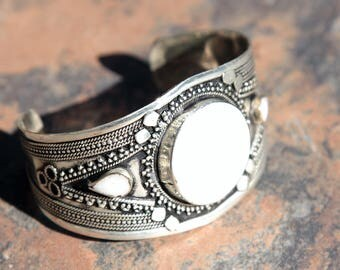BRACELET (1pc) Turkoman Tribal Real WHITE Stone Belly Dance 502a5