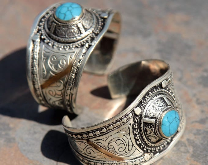 BRACELET Pair (2pcs) Turkoman Tribal Real TURQUOISE Gold Plated BellyDance 501c55